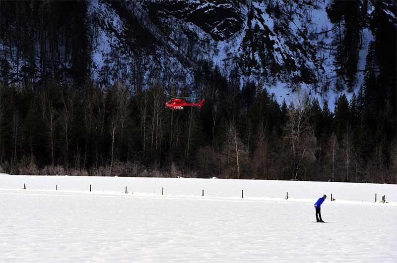 Helicopter Above Crosscountry skier