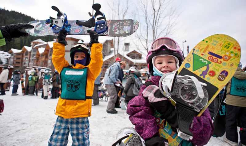 kids ski and Snowboard Creekside