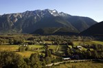 An aerial view of Pemberton including the valley floor and Mount Currie