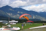 Paragliders preparing for flight at the Pemberton Airport
