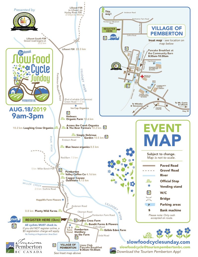 Pemberton Slow Food Cycle 2019 Map